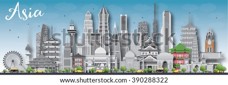 Asia skyline silhouette with different landmarks. Vector illustration. Business travel and tourism concept with place for text. Image for presentation, banner, placard and web site. - stock vector