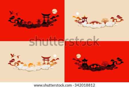 Asia traditional silhouette.