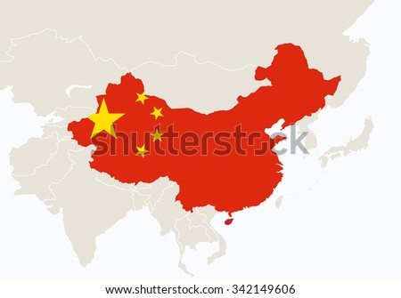 Asia with highlighted China map. Vector Illustration.  - stock vector