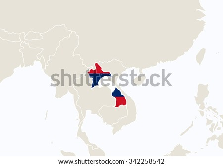 Asia with highlighted Laos map. Vector Illustration.