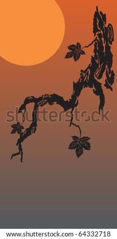 asian autumn background - stock vector