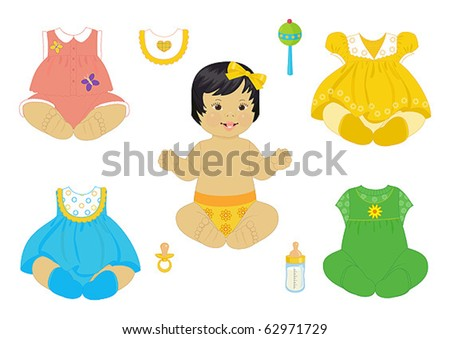 asian baby-girl with set of clothes - stock vector