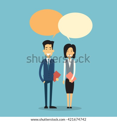 Asian Business Man Woman With Chat Bubble Communication Concept Flat Vector Illustration - stock vector