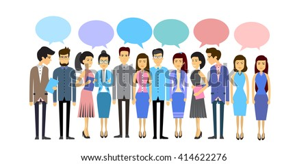 Asian Business People Group Crowd With Chat Bubble Social Network Communication Concept Flat Vector Illustration - stock vector