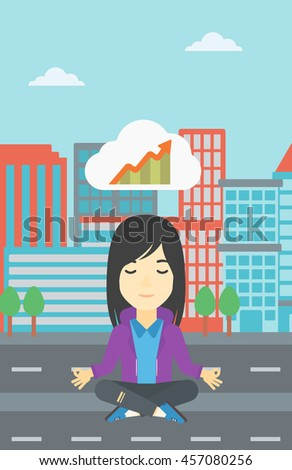 Asian business woman with eyes closed doing yoga. Woman thinking about the growth graph and meditating in lotus pose. Vector flat design illustration. Vector flat design illustration. Vertical layout. - stock vector