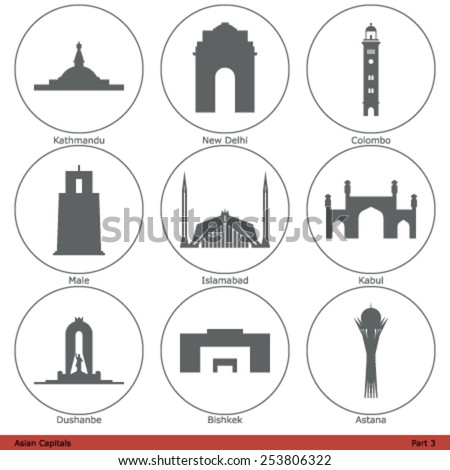 Asian Capitals - Icon Set (Part 3) - stock vector