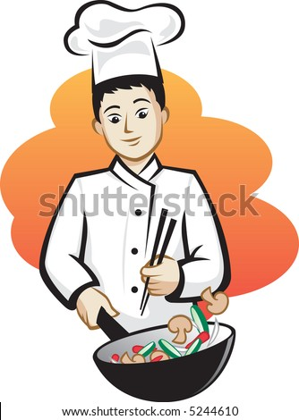 Asian Chef - stock vector