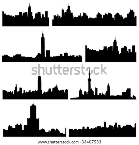 Asian Cities Series:Construction of four major provinces and cities in China - stock vector