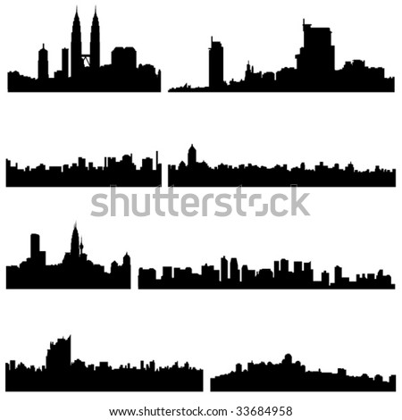 Asian Cities Series:The four countries of Southeast Asian well-known construction. - stock vector