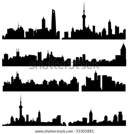 Asian Cities Series:The high-rise buildings in Chinese Shanghai Well-known cities - stock vector