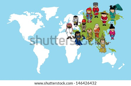 Asian continent cartoon people with distinctive clothing. Vector illustration layered for easy editing. - stock vector