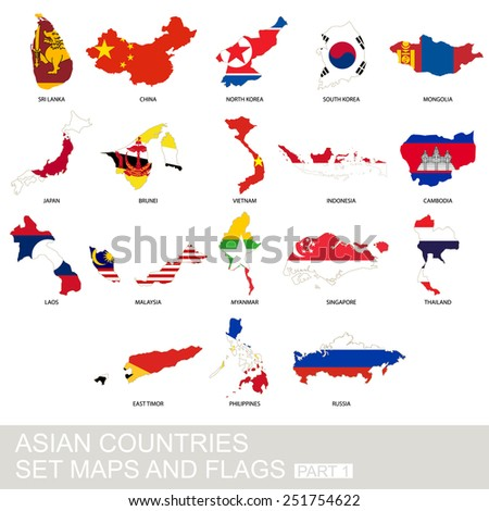 Asian countries set, maps and flags, Part 2 - stock vector