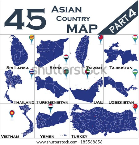 Asian country set with map pointers - Part 4 - stock vector
