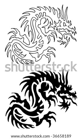 Asian Dragon Tattoo with stencil - stock vector