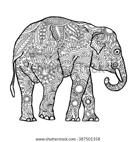 asian elephant zentangle animal page adult stock vector 387501358 shutterstock. Black Bedroom Furniture Sets. Home Design Ideas