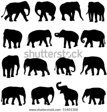 Asian elephants - stock vector