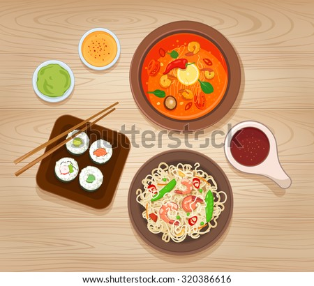 Asian Food - stock vector