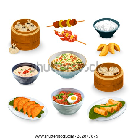 Asian food decorative icons set with fortune cookies isolated vector illustration - stock vector