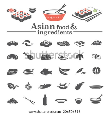 Asian food & ingredients - vector icons set & design elements - stock vector