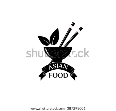 Asian food logo vector illustration. Asian food logo isolated on white background. Asian food logo vector icon illustration. Asian food logo isolated vector Asian food logo silhouette - stock vector
