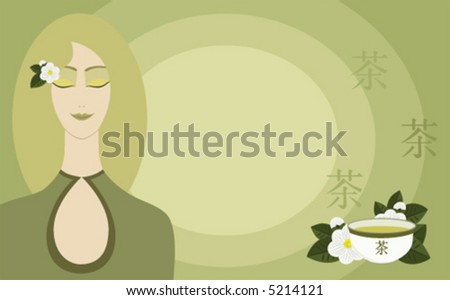 Asian girl with a cup of green tea and tea flowers, on pale green background with copy space - stock vector