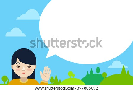 Asian girl with speech bubble