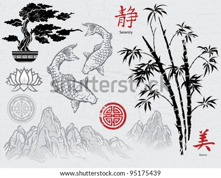 Asian Ink Brush Ornaments - stock vector