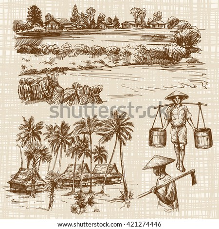 Asian landscape with rural houses. Asian farmer in work. Hand drawn illustration. - stock vector