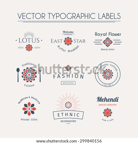 Asian logos templates set. Vector typographic labels - stock vector