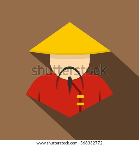 Asian man in conical, straw hat icon. Flat illustration of asian man in conical, straw hat vector icon for web on coffee background