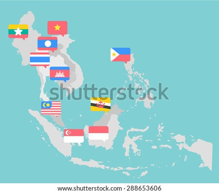 Asian map with point flags flat design vector - stock vector