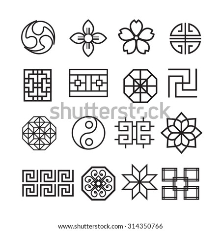 Asian ornament icon, korean, chinese, japanese vector set - stock vector