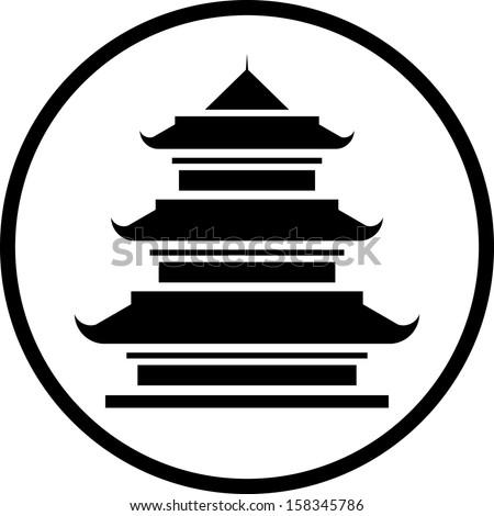 Asian Pagoda Tower vector icon isolated  - stock vector
