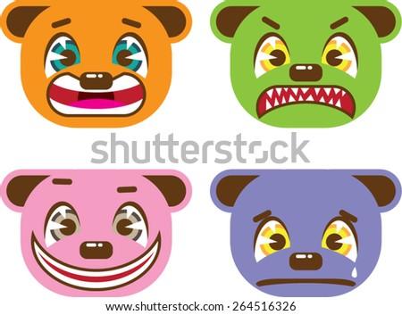 Asian style bear faces vector - stock vector