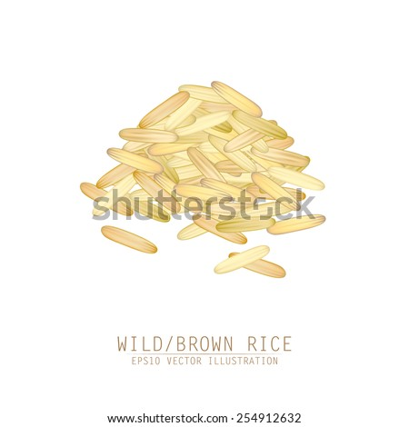 Asian traditional food of Japan, Korea and China. Vector illustration of wild or brown rice pile.  - stock vector