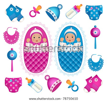 Asian twins with accessories - stock vector