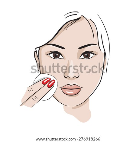 Asian woman wipes the face with a cotton pad. Hand drawn makeup set. The face on a white background. Sketch style vector. - stock vector