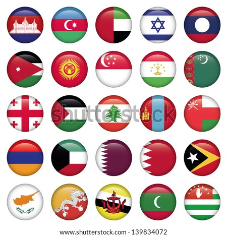 Asiatic Flags Round Buttons - stock vector