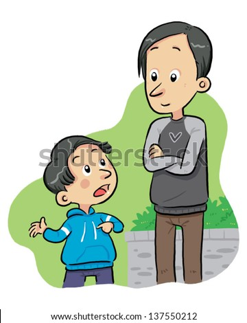Asking Question A boy ask to his father some questions. Vector EPS8 file. - stock vector