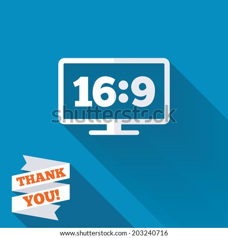 Aspect ratio 16:9 widescreen tv sign icon. Monitor symbol. White flat icon with long shadow. Paper ribbon label with Thank you text. Vector - stock vector