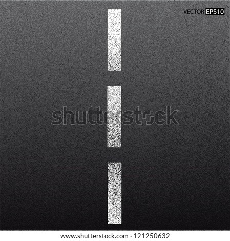 Asphalt dark texture with white line - stock vector