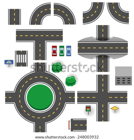 Asphalt road plan parts vector template. - stock vector