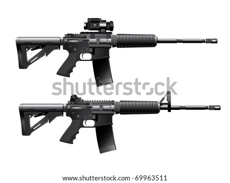 Assault rifle carabine vector - stock vector