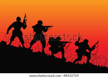 Assault. Vector silhouette of soldiers. - stock vector