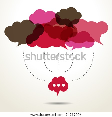 Assembled cloud speech bubbles - stock vector