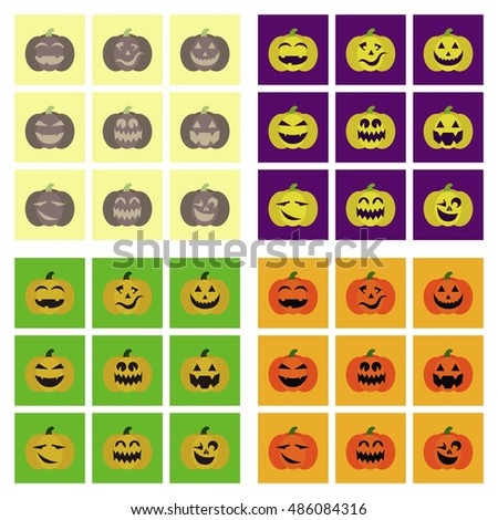 assembly flat icons halloween emotion pumpkin