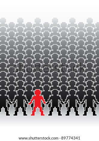 assembly of human pixel figures in a row - illustration