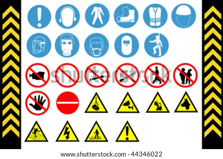 Assembly Point and First Aid Signs vector, isolated by group - stock vector