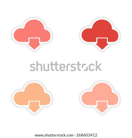 assembly realistic sticker design on paper clouds  - stock vector