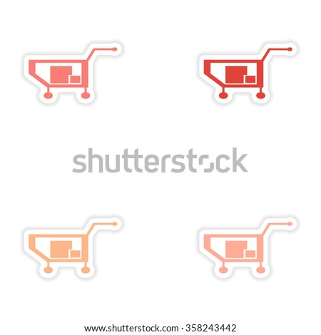 assembly realistic sticker design on paper truck boxes - stock vector